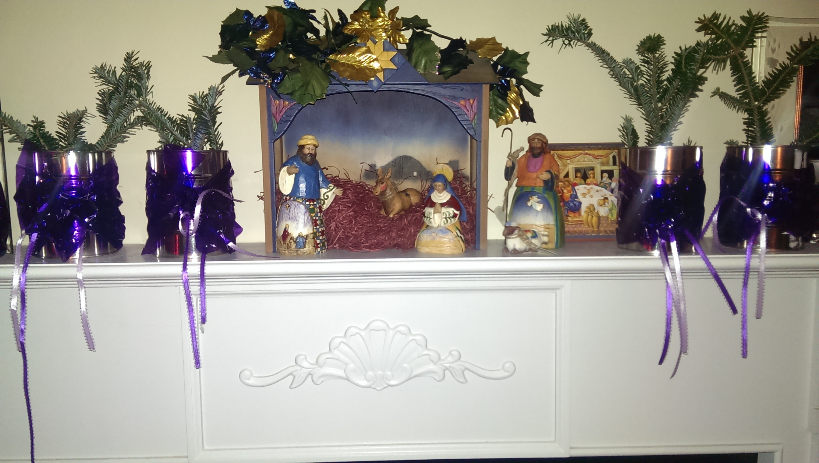 Advent candles and manger