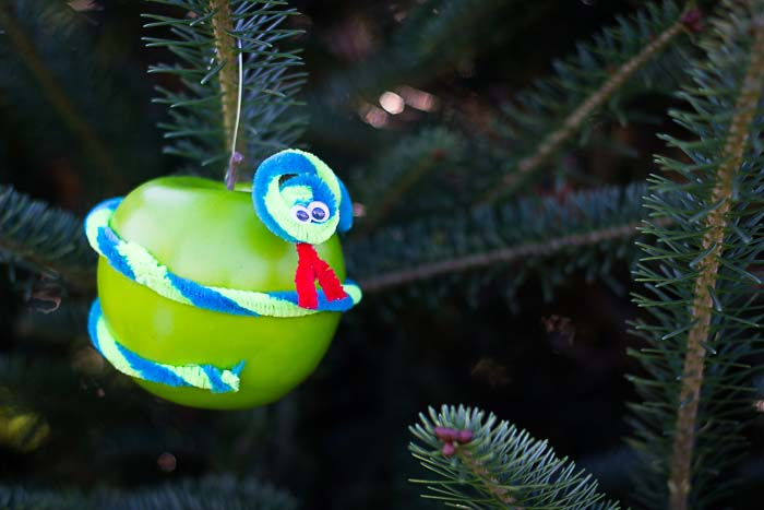 Jesse Tree Ornament of Snake on Apple