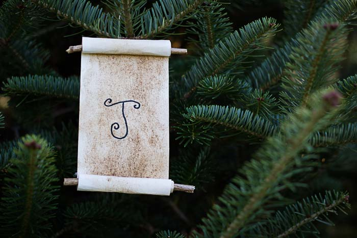 Jesse Tree Ornament of scroll with J