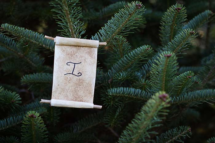 Jesse Tree Ornament of scroll with I