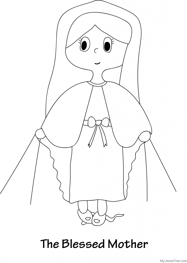 Blessed mother coloring sheet coloring pages for Blessed mother coloring page