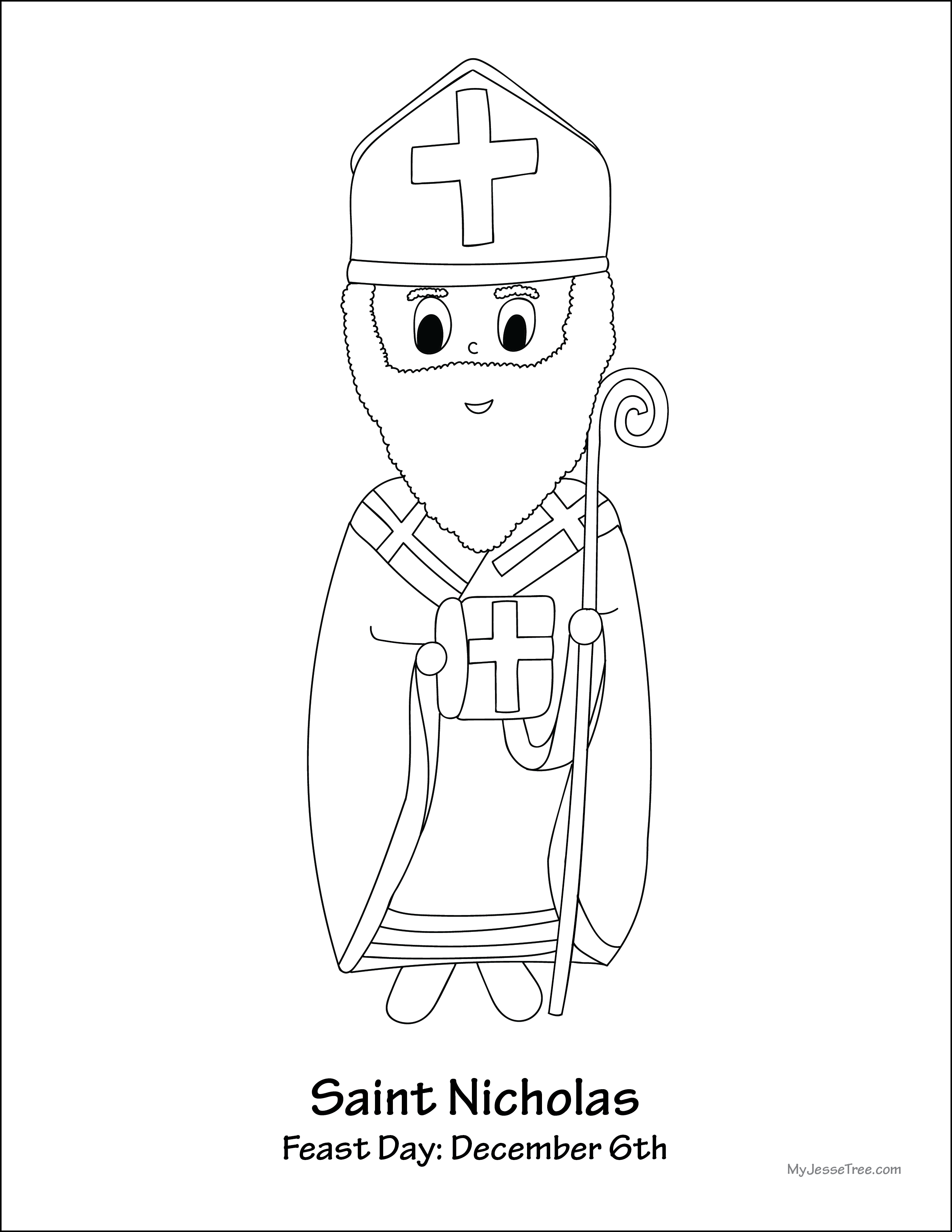 Free St Nicholas Day Coloring Pages (With images) | St nicholas ... | 3304x2554